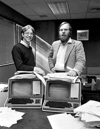 Bill Gates (left) and Paul Allen relocated Microsoft to Bellevue, Wash., in 1979.(Barry Wong/TNS)