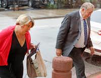 Jerry Shults and his daughter, Amy Herrig of the Gas Pipe arrive at the Earle Cabell federal courthouse, downtown Dallas, photographed on Wednesday, September 26, 2018. (Louis DeLuca/The Dallas Morning News)(Louis DeLuca/Staff Photographer)