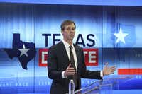 U.S. Rep. Beto O'Rourke (D-TX) debates U.S. Sen. Ted Cruz (R-TX) at the KENS 5 studios on October 16, 2018 in San Antonio, Texas. A recent poll show Cruz leading O'Rourke 52-45 percent among likely voters.  (Tom Reel/San Antonio Express-News)