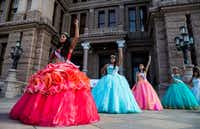 Teenage girls with Jolt Texas held symbolic quinceaneras to protest the sanctuary cities ban on July 19, 2017, outside the Texas state capitol in Austin.(Ashley Landis/Staff Photographer)