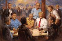 In an image provided by Andy Thomas, a painting shows President Donald Trump sitting among Dwight D. Eisenhower, Richard Nixon, Abraham Lincoln, Ronald Reagan and other past Republican presidents in a picture that now hangs at the White House.(The New York Times)