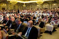 Guests at the Future Investment Initiative conference at the Ritz-Carlton in Riyadh, Saudi Arabia, Oct. 24, 2017. The conference for big investors started in 2017 by Crown Prince Mohammed bin Salman has become a symbol of the West's deepening disillusionment with him after the disappearance of a Saudi journalist.(TASNEEM ALSULTAN/NYT)