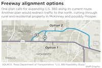 This map shows the two revised alignments proposed by TxDOT to improve U.S. Highway 380. (Laurie Joseph/Staff Graphic)