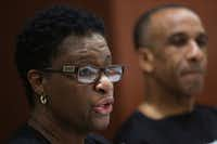 Allison Jean, the mother of Botham Jean, speaks during an interview this week in Dallas. Her husband, Bertrum Jean, sits beside her. Botham Jean was shot and killed in his apartment by Dallas police officer Amber Guyger. She was off-duty but in uniform when, she said, she mistook his apartment for her own and thought he was a burglar.(Rose Baca/Staff Photographer)