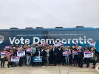 "Democrats' ""Fair Shot Bus Tour""aims to inspire Texans to vote blue.(Brianna Stone/Staff)"