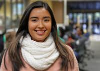 Estefana Esquivel, 19, is a student at the University of North Texas in Denton. She is preparing to vote for the first time this year.(Louis DeLuca/Staff Photographer)