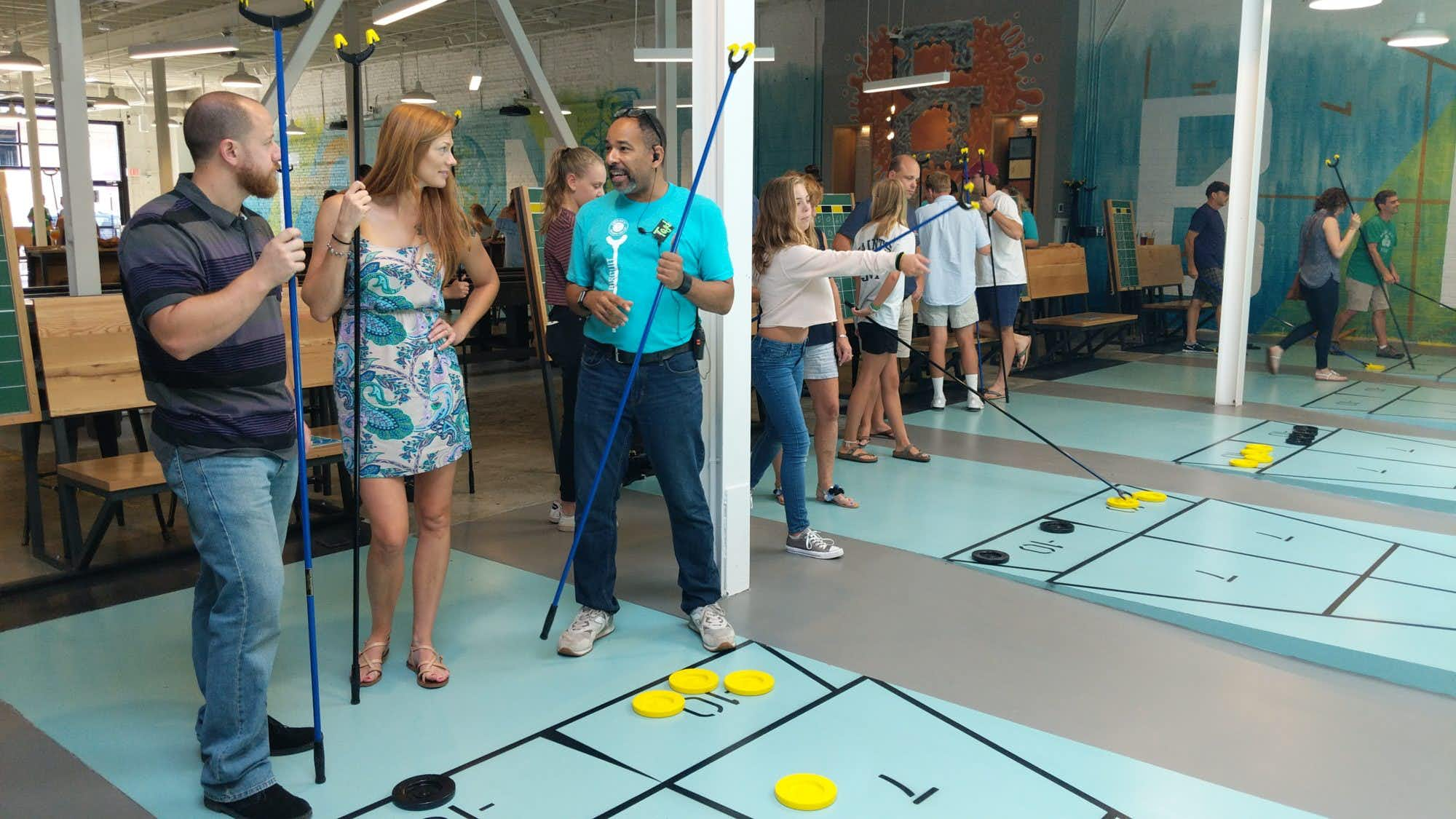 """<p><span style=""""font-size: 1em; background-color: transparent;"""">Tang & Biscuit, a huge shuffleboard club named for terms for the sport's stick and puck, opened in August in Richmond, Va.</span></p>(Courtesy/Tang & Biscuit)"""