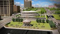 Renderings show the planned expansion of Klyde Warren Park in Dallas. The expansion will include a pavilion containing a visitors center and a parking garage.(M2 Studio/Klyde Warren Park)
