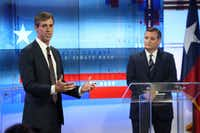 U.S. Rep. Beto O'Rourke (left), D-El Paso, and U.S. Sen. Ted Cruz, R-Texas, debated Oct. 16 in San Antonio.(Tom Reel/The Associated Press)