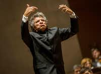 Guest conductor Giancarlo Guerrero during the Dallas Symphony Orchestra concert at Meyerson Symphony Center in Dallas on Oct. 20, 2018.(Carly Geraci/Staff Photographer)