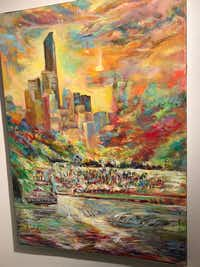 One of Arjoon KC's paintings on display at the Irving Arts Center. (Deborah Fleck/Staff)