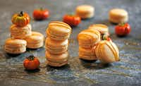 Pumpkin Spice Caramel Macarons are drizzled with caramel sauce.(Louis DeLuca/Staff Photographer)