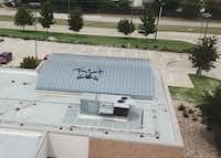 One of Arlington's police drones flies over the South Police Station. The department has been using the unmanned aircrafts since 2013.(Arlington Police Department)