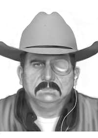 This is an image of a man wanted in a violent bank robbery that led to a North Richland Hills police officer being shot in 2003. Authorities believe the mustache is fake.(North Richland Hills Police Department)