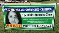 Courtesy photo of the yard signs targeting Rep. Victoria Neave, which say they were paid for by Latencia Ruiz.