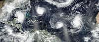 Hurricanes Florence, Helena and Issac in September 2018.(National Oceanic and Atmospheric Administration)