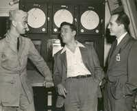 L. Sprague de Camp (left), Isaac Asimov, and Robert A. Heinlein in 1944.(John Seltzer and Geo Rule/HarperCollins)
