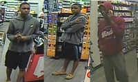 Surveillance footage of a man accused of stealing from three GameStop stores.(Mesquite Police Department)