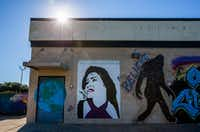 A mural of singer Selena is displayed behind Family Dollar at 3939 S. Polk St. in Dallas.(Ashley Landis/Staff Photographer)