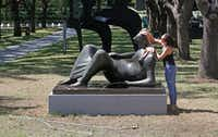 The grass around sculptor Henry Moore's <i>Reclining Figure</i>looks mostly dead as Nicole Berastequi of the Nasher Sculpture Center cleans the work on Aug. 17, 2018.(Louis DeLuca/Staff Photographer)