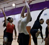 Renee Walters (center) rehearses&nbsp;<i>Bodies as Site of Faith and Protest</i> by Philadelphia choreographer Tommie-Waheed Evans with other members of Dallas Black Dance Theatre. The company performs an excerpt from the 2016 work at its Director's Choice shows Nov. 2-4.(Ben Torres/Special Contributor)