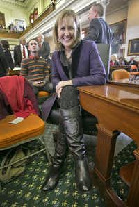 "Texas state Sen. Konni Burton wore a pair of boots with the words ""Stand For Life"" printed on them when she was sworn into the Senate in 2015.(Ralph Barrera/The Associated Press)"