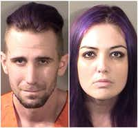 Bradley Burroughs and Breanna Dickson were arrested on forgery charges.(Denton County Jail)