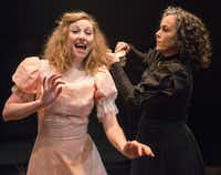 Mikaela Krantz, left, and Emily Scott Banks in <i>The Moors</i>, presented by Theatre Three.(Robert W. Hart/Special Contributor)