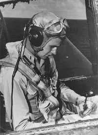 Navy pilot George H.W. Bush sits in the cockpit of an Avenger fighter aircraft, c. 1943-45. (George Bush Presidential Library/MCT)