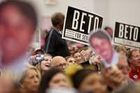 Supporters cheer during a campaign rally for Democratic Senate candidate Beto O'Rourke at Liberty Missionary Baptist Church in Tyler, Texas on Thursday, Oct. 25, 2018. (Rose Baca/Staff Photographer)