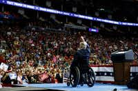 Texas Gov. Greg Abbott speaks during a campaign rally with President Donald Trump at the Houston Toyota Center, Monday, Oct. 22, 2018, in Houston.(Evan Vucci/AP)