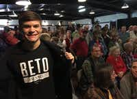 """Caleb Krnavek, 21, a junior at Stephen F. Austin State University, showed up at a Nacogdoches rally for Sen. Ted Cruz even though he cast an early vote for Cruz's Democratic opponent, Rep. Beto O'Rourke. """"It's my civic duty to hear both sides,"""" Krnavek said.(Robert T. Garrett/The Dallas Morning News)"""
