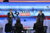 SAN ANTONIO, TX - OCTOBER 15:  U.S. Rep. Beto O'Rourke (D-TX) (L) and U.S. Sen. Ted Cruz (R-TX) face off in a debate at the KENS 5 studios on October 16, 2018 in San Antonio, Texas. A recent poll show Cruz leading O'Rourke 52-45 percent among likely voters.(Pool/Getty Images)