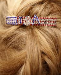 Susan Frazier wears a USA barrette during Sen. Ted Cruz campaign rally at Sharon Shrine Center in Tyler, Texas on Thursday, Oct. 25, 2018. (Rose Baca/The Dallas Morning News)(Rose Baca/Staff Photographer)