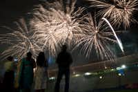Fireworks go off in the Cotton Bowl during Diwali Mela at Fair Park on Nov. 5, 2016 in Dallas. (Ting Shen/The Dallas Morning News)(Ting Shen/Staff Photographer)