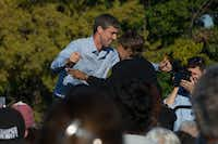 Rep. Beto O'Rourke hugs Congresswoman Eddie Bernice Johnson before speaking to a crowd at Fretz Park in Dallas on Oct. 27. Election Day is Nov. 6. (Daniel Carde/Staff Photographer)