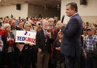 Sen. Ted Cruz speaks to supporters during a campaign rally at Sharon Shrine Center in Tyler on Thursday, Oct. 25, 2018.(Rose Baca/Staff Photographer)