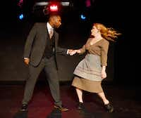 Jamall Houston (Narrator) and Lauren LeBlanc (Mrs. Johnstone) in <i>Blood Brothers</i>, presented by Imprint Theatreworks'  at the Bath House Cultural Center.(Ben Torres/Special Contributor)