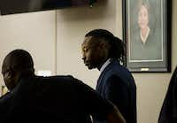 Kristopher Love enters the courtroom after a lunch break during the punishment phase of his capital murder trial on Tuesday, October 30, 2018 at the Frank Crowley Courts Building in Dallas. Love was convicted in the 2015 murder of pediatric dentist Kendra Hatcher. He could face the death penalty. (Ashley Landis/The Dallas Morning News)(Ashley Landis/Staff Photographer)