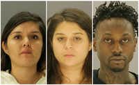 <p>Brenda Delgado (left) is accused of recruiting Crystal Cortes and Kristopher Love to help her kill Kendra Hatcher, who was dating Delgado's ex-boyfriend.&nbsp;(Dallas County Jail)</p>