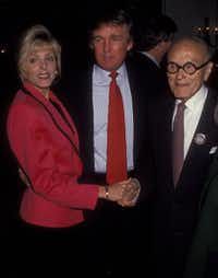 Marla Maples, Donald Trump and Philip Johnson at the Plaza Hotel in New York City in October 1994.(Ron Galella/WireImage)