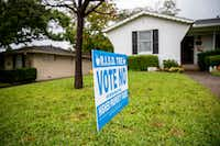 A sign opposing the proposed 13-cent tax rate increase on the November ballot sits in front of Tony Harkleroad's home in Richardson on Oct. 25.  (Shaban Athuman/Staff Photographer)