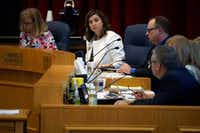 Richardson ISD's school board member Kristin Kuhne (far left) speaks about the tax ratification election during a board meeting on Aug. 20.  (Lawrence Jenkins/Special Contributor)