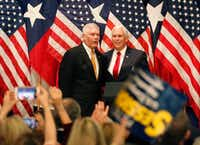 Vice President Mike Pence, right, and congressman Pete Sessions are pictured together at a rally at the Park Cities Hilton Hotel in Dallas on Monday, Oct. 8, 2018. (Louis DeLuca/The Dallas Morning News)(Louis DeLuca/Staff Photographer)
