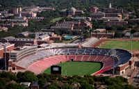 Gerald J. Ford Stadium at SMU, which architect Bryce Weigand helped plan and which is flanked by the campus expansion that he and SMU President R. Gerald Turner worked on together. (File Photo/Staff)