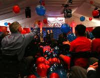 Architect Bryce Weigand (left) batted a balloon at a 2008 rally attended by SMU trustees, administration, faculty and students to launch a massive capital campaign.(File Photo)