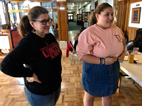 Sofia Almanzan (right) stands with her mother, Sandra, during a high school debate that focused on themes like Texas politics.(Alfredo Corchado/Staff Photo)