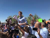 U.S. Rep. Joe Kennedy, D-Mass., joined protesters near Tornillo in Texas to protest Trump's immigration policies. Next to him is U.S. Rep. Beto O'Rourke, raising his arm. Outraged over the Trump administration's policy of  splitting up families entering the country illegally, protesters marched June 17, 2018, to a shelter in Tornillo where children were being held outside this tiny farming community in West Texas, south of El Paso.(Alfredo Corchado/The Dallas Morning News)