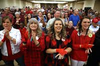 Supporters cheer during Ted Cruz's speech in Victoria on Saturday.(Justin Sullivan/Getty Images)