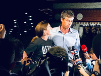 U.S. Rep. Beto O'Rourke returned home Monday, following a statewide campaign and stood alongside his wide Amy at the University of Texas at El Paso. (By Alfredo Corchado/The Dallas Morning News)